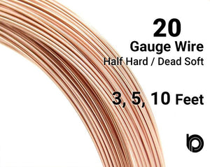 20 Gauge Rose Gold Filled Round Half Hard or Dead Soft Wire - Beadspoint