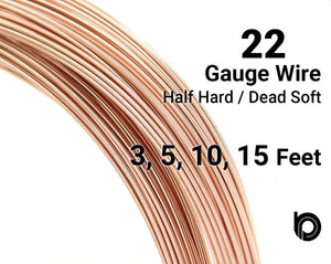 22 Gauge Rose Gold Filled Round Half Hard or Dead Soft Wire - Beadspoint