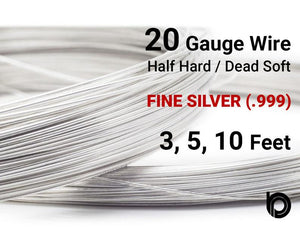 20 Gauge Fine Silver Round Half Hard or Dead Soft Wire