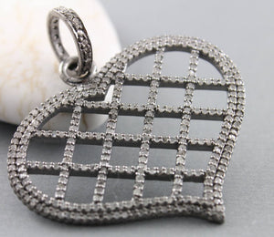 Pave Diamond Open Heart Pendant 3 Finishes -- DP-1629 - Beadspoint