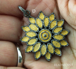 Pave Diamond Lotus Flower Pendant -- DP-1649 - Beadspoint