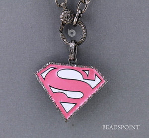 Pave Diamond Enamel Superman Pendant -- DP-1666 - Beadspoint