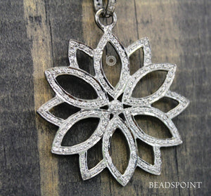 Pave Diamond Lotus Pendant -- DP-1714 - Beadspoint