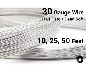30 Gauge Sterling Silver Round Half Hard or Dead Soft Wire