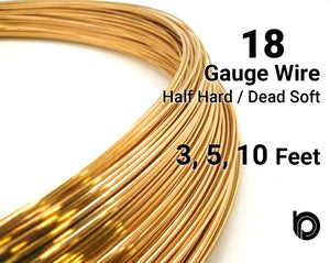 18 Gauge 14K Yellow Gold Filled Round Half Hard or Dead Soft Wire