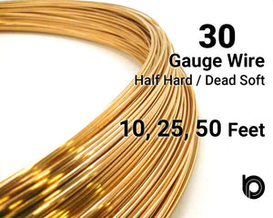 30 Gauge 14K Yellow Gold Filled Round Half Hard or Dead Soft Wire