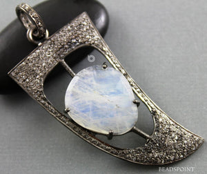 Pave Diamond Rainbow Moonstone Arrowhead Pendant   -- DP-1733 - Beadspoint