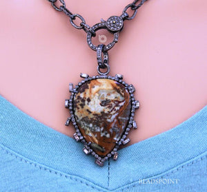 Pave Diamond Jasper Drop Pendant -- DP-1737 - Beadspoint