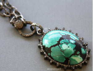 Pave Diamond Turquoise Oval Pendant -- DP-1735 - Beadspoint