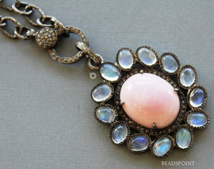 Pave Diamond Pink Opal and Moonstone Pendant -- DP-1745 - Beadspoint