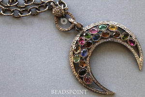 Pave Diamond Tourmaline Crescent Moon Pendant -- DP-1746 - Beadspoint