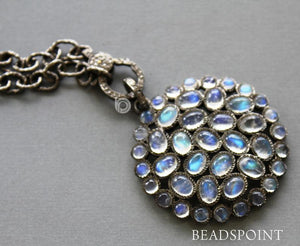 Pave Diamond Rainbow Moonstone Pendant -- DP-1761 - Beadspoint