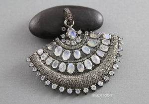 Pave Diamond Rainbow Moonstone Pendant -- DP-1774 - Beadspoint