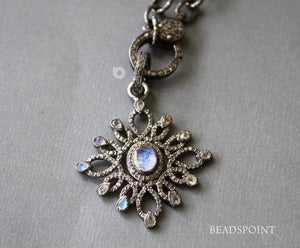 Pave Diamond & Rainbow Moonstone Flower Pendant -- DP-1780 - Beadspoint