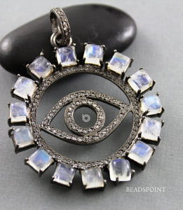 Pave Diamond Rainbow Moonstone Evil Eye Pendant -- DP-1740 - Beadspoint
