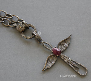 Pave Diamond Ruby Angel Pendant -- DRB-7101 - Beadspoint