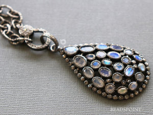 Pave Diamond Rainbow Moonstone Drop Pendant -- DP-1816 - Beadspoint