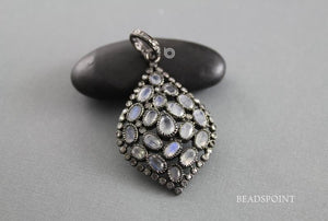 Pave Diamond Rainbow Moonstone Pendant -- DP-1794 - Beadspoint
