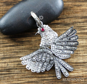 Pave Diamond Dove Bird Pendant -- DP-1866 - Beadspoint