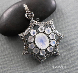 Pave Diamond Rainbow Moonstone Pendant -- DP-1819 - Beadspoint