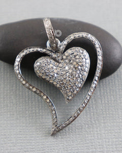 Pave Diamond Heart Pendant -- DP-1888 - Beadspoint