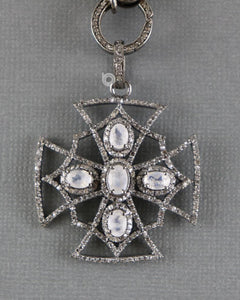 Pave Diamond Art Deco Cross Pendant -- DP-1889 - Beadspoint