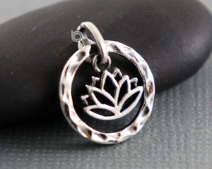 Sterling Silver Artisan Lotus Circle Charm -- SS/CH2/CR98 - Beadspoint