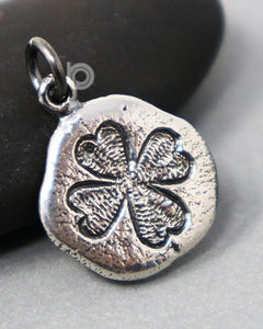 Sterling Silver Clover Coin Charm --SS/CH2/CR109 - Beadspoint