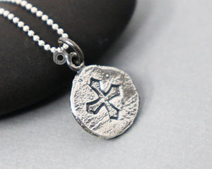 Sterling Silver Cross Coin Charm  -- SS/CH1/CR64 - Beadspoint