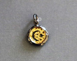 Gold Vermeil Over Sterling Silver Star And Moon Charm -- SS/CH5/CR50
