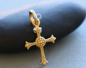 Gold Vermeil on Sterling Silver Cross Charm -- VM/CH1/CR54 - Beadspoint