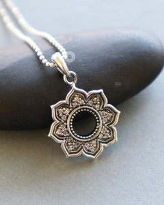 Sterling Silver Lotus With Diamonds  Charm -- SS/CH4/CR142 - Beadspoint