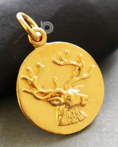 24K Gold Vermeil Over Sterling Silver Antlered Deer Charm-- VM/CH7/CR72 - Beadspoint
