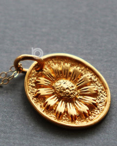 Gold Vermeil Over Sterling Silver Bloom Sunflower Charm -- VM/CH4/CR126