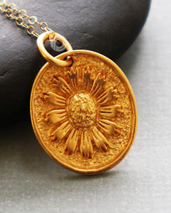 Gold Vermeil Over Sterling Silver Bloom Sunflower Charm -- VM/CH4/CR126 - Beadspoint