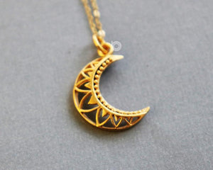 Gold Vermeil Over Sterling Silver La Luna Ornate Moon Charm -- VM/CH5/CR40 - Beadspoint