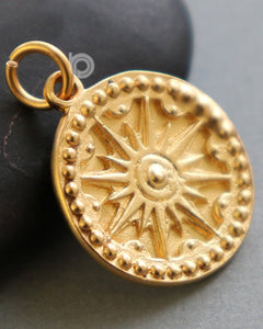 Gold Vermeil Over Sterling Silver North Star Compass Charm -- VM/CH5/CR44 - Beadspoint