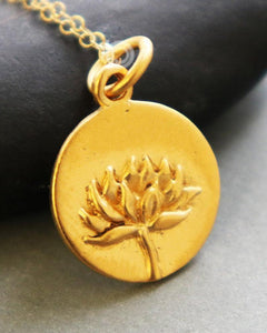Gold Vermeil Over Sterling Silver Lotus Flower Charm -- VM/CH2/CR87 - Beadspoint