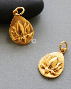 Gold Vermeil Over Sterling Silver Lotus Circle Flower Charm -- VM/CH2/CR91