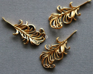 24K Gold Vermeil Over Sterling Silver Feather Charm -- VM/CH4/CR111 - Beadspoint