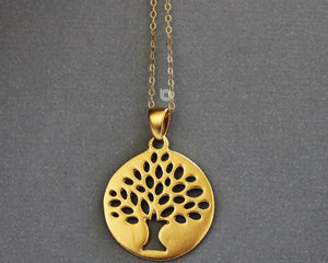 Gold Vermeil Over Sterling Silver Tree Of Life Jump Ring Charm -- VM/CH4/CR117