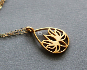 Gold Vermeil Over Sterling Silver Lotus Teardrop Charm -- VM/CH4/CR129 - Beadspoint