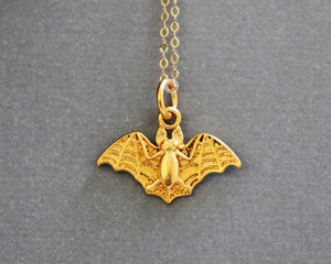24K Gold Vermeil Over Sterling Silver Bat Charm  -- VM/CH7/CR71 - Beadspoint