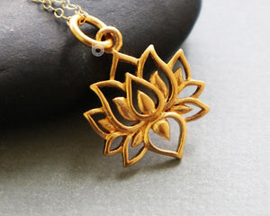 Gold Vermeil Over Sterling Silver Lotus Flower Bloom Charm -- VM/CH2/CR92 - Beadspoint