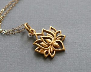 Gold Vermeil Over Sterling Silver Lotus Flower Bloom Charm -- VM/CH2/CR92