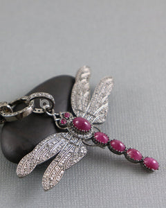 Pave Diamond Ruby Dragonfly Pendant -- DP-1903 - Beadspoint
