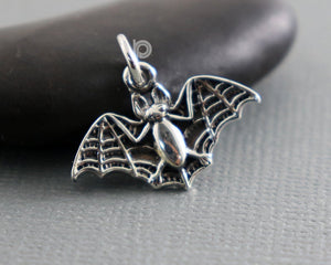 Sterling Silver Crafted Flying Bat Charm  -- SS/CH7/CR71 - Beadspoint