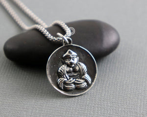 Sterling Silver Artisan Buddha Charm -- SS/CH2/CR86 - Beadspoint