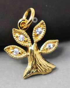 24K Gold Vermeil Over Sterling Silver Tree Of Life Charm With White Sapphire  -- VM/CH4/CR148 - Beadspoint