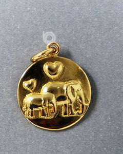 24K Gold Vermeil Over Sterling Silver Mother and Baby Elephant Charm -- VM/CH7/CR113 - Beadspoint